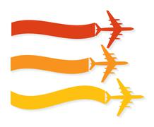 Retro Airplane Banner. Vector Illustration. - stock illustration