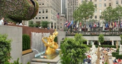4K Rockefeller Plaza Lower Level Establishing Shot Stock Footage