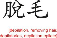 Chinese Sign for depilation, removing hair, depilation epilate - stock illustration