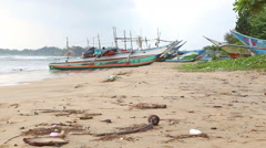 WELIGAMA, SRI LANKA - MARCH 2014: View of wooden fishing boats on beach. Stock Footage