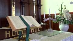 4k Bible in Church Stock Footage