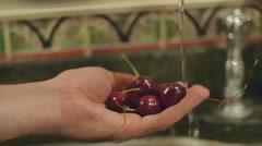 Washing wash off fruit Stock Footage