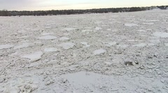 Ice Jam, River Completely Frozen Stock Footage