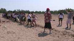 Scorching hot weather at Toronto beach with heat waves rising off the sand Stock Footage