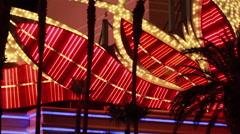 Las Vegas casino neon and palm trees - stock footage
