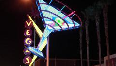 Las Vegas cocktail glass neon sign at night Stock Footage