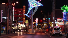 Las Vegas Fremont old downtown neon light at night Stock Footage