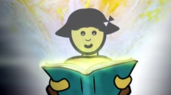 A child learning. Animation with sound. Stock Footage