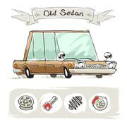 Old Cartoon Sedan Set Stock Illustration