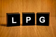Lpg or liquefied petroleum gas word on black block Stock Illustration