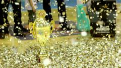 Champion Cup at a Basketball Game - stock footage