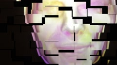 computerized face shattered - stock footage