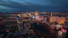 Las Vegas strip wide view day to night time-lapse - stock footage