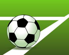 Stock Illustration of soccer ball on the green field. vector illustration