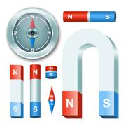 Stock Illustration of vector set magnets with compass