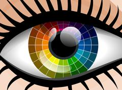 Stock Illustration of vector colorful palette woman eye