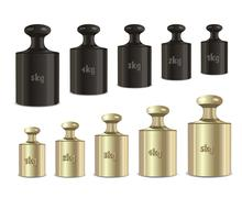Stock Illustration of vector calibration weights on a white background.
