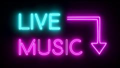Live music neon sign lights logo text glowing multicolor Stock Footage