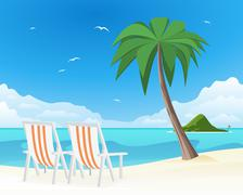 two beach chairs on tropical white sand - stock illustration