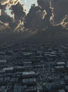 Future City under Storm Clouds Piirros