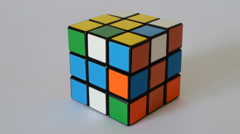 Puzzle Cube Solves Itself Stock Footage
