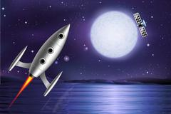 Rocket satellite Stock Illustration