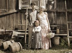 Retro tyylinen Family Portrait Kuvituskuvat