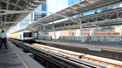 BANGKOK BTS Skytrain at Phayathai station , Thailand. Stock Footage