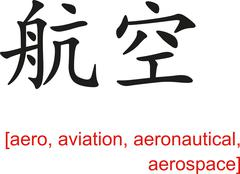 Stock Illustration of Chinese Sign for aero, aviation, aeronautical, aerospace