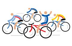 Four racing cyclists Stock Illustration