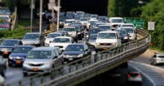 Heavy Traffic on New York Overpass Stock Footage