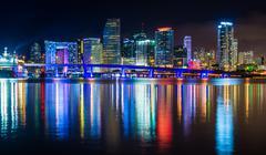 The miami skyline at night, seen from watson island, miami, florida. Stock Photos
