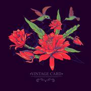 Vintage Card with Red Flowers and Hummingbirds. - stock illustration