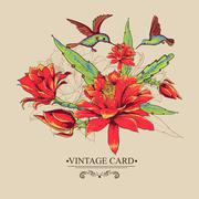 Vintage Card with Red Flowers and Hummingbirds. Stock Illustration