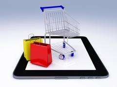 shopping cart over tablet pc. e-commerce concept. - stock illustration