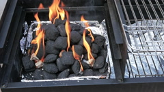 Burning BBQ Charcoal, Slow Motion Stock Footage