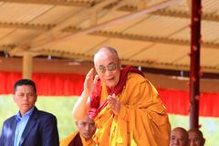 leh, india-august 5, 2012 - his holiness the 14th dalai lama - stock photo