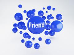 Stock Illustration of friend sign. social network  concept.