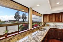 kitchen room interior with window view - stock photo
