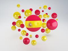 national flag of spain  on sphere - stock illustration