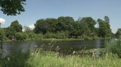 003Speedboat in canal, Dutch landscape Stock Footage