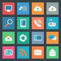 Communication icons set flat design Stock Illustration