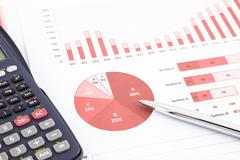 Red business charts, graphs, report and summarizing background Stock Photos