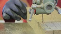 Man Using Bandsaw Machine Close Up - stock footage