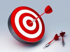 red dart hitting the target - stock illustration