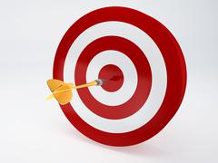 gold dart hitting the target. isolated white - stock illustration