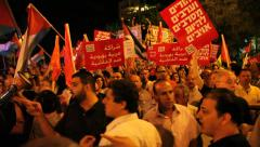 Muslims, left wing activists demonstrate against the invasion of Israel to Gaza - stock footage
