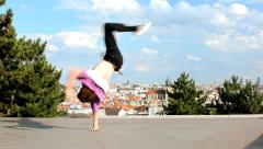 Breakdancer dancing breakdance in Prague - stock footage