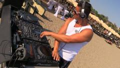 DJ work at Dance Foam Day Beach Disco Music Party Stock Footage