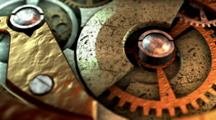 3D STEAMPUNK MECHANISM close-up. ALPHA MATTE Stock Footage